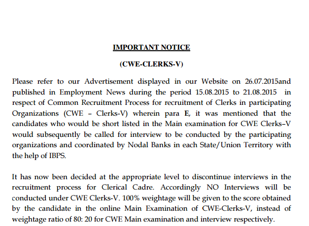 IBPS Clerk Official Notification No Interviews