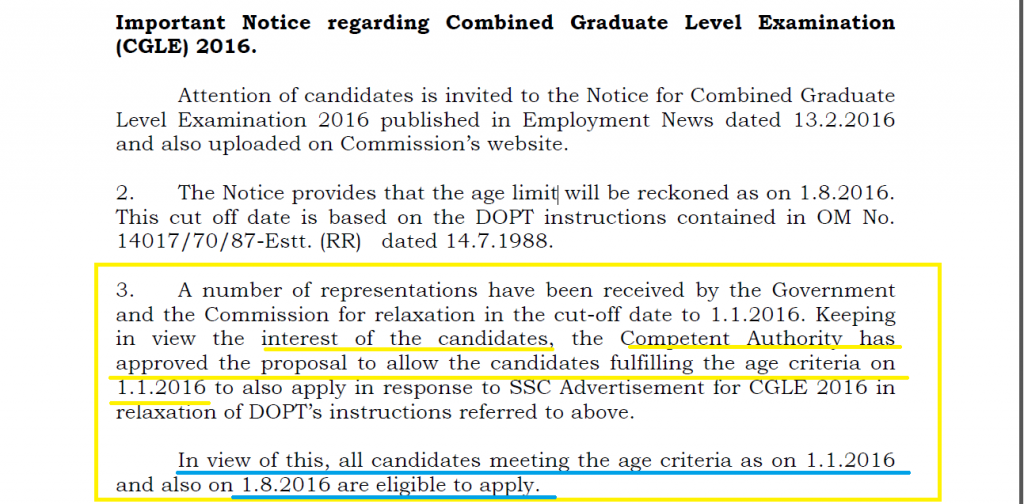 SSC CGL 2016 age limit reckoned date changed.