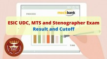 ESIC UDC, MTS and Stenographer Exam Result and Cutoff