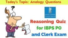 Reasoning Quiz : Analogy Questions for IBPS PO and Clerk