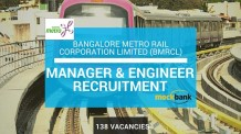 BMRCL Recruitment 138 Vacancies - Manager & Engineer Posts.bmrc.co.in