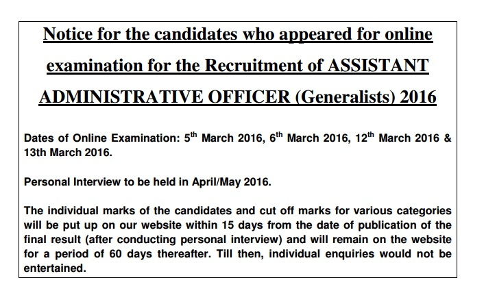 LIC AAO NOTICE FOR CANDIDATES