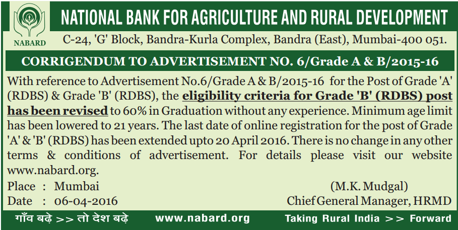 NABARD EXAM LAST DATE TO APPLY