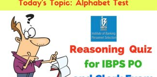 Reasoning Quiz- Alphabet Test Questions for IBPS PO and Clerk