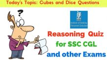 Reasoning Quiz: Cubes and Dice Questions for SSC CGL