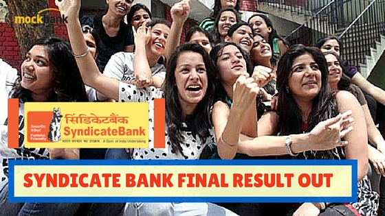 Syndicate Bank Final Result Out