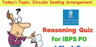 Reasoning Quiz: Circular Seating Arrangement Questions for IBPS PO and Clerk