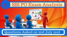 SBI PO Exam Questions Asked, Questions asked in SBI PO Exam on 2nd July 2016