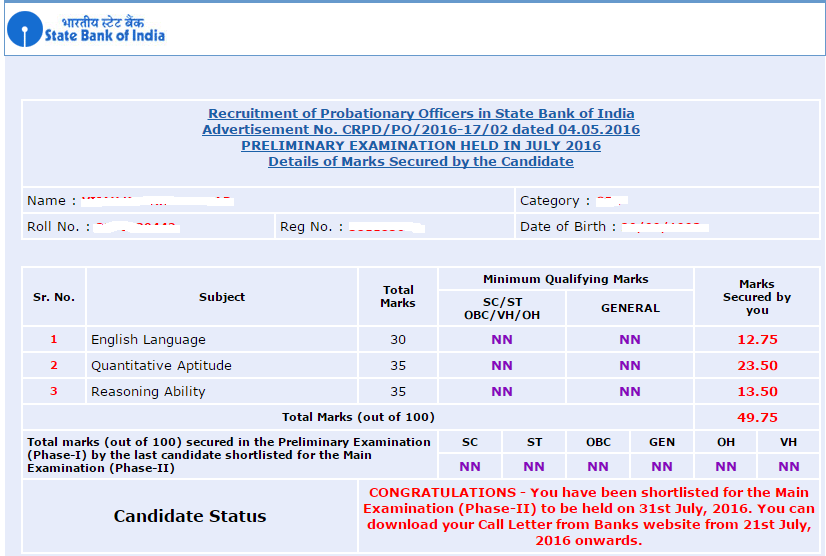 SBI PO Result Score Card