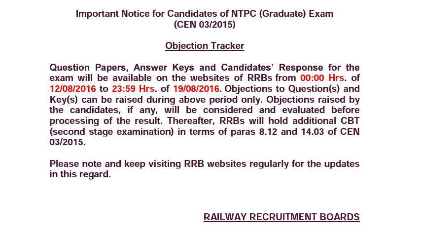 Objection Tracker and Answer Keys of RRB NTPC Exam
