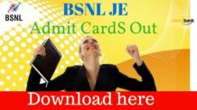 BSNL JE Admit Card 2016 Out: Download here