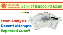 Bank of Baroda PO Exam Analysis, Decent Attempts and Expected Cutoff