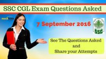 Questions Asked in SSC CGL 2016 Exam on 7 September 2016
