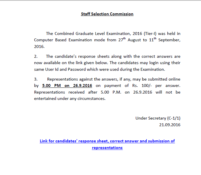 ssc-cgl-tier-1-answer-key-released