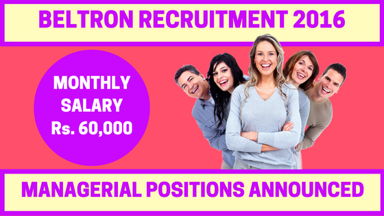 BELTRON Recruitment 2016