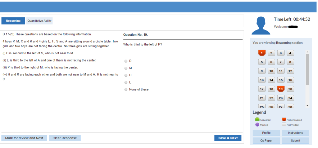 IBPS RRB Office Assistant Exam Screen