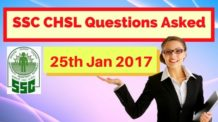 SSC CHSL Questions Asked 25 Jan 2017
