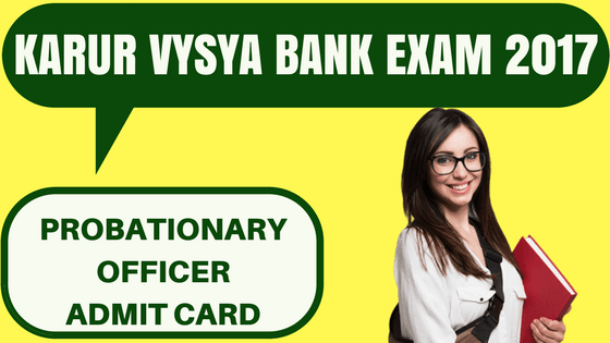 Karur Vysya Bank Admit Card