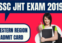 SSC JHT Admit Card Western Region