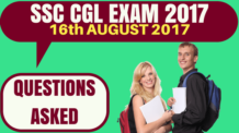 SSC CGL Questions Asked on 16th August