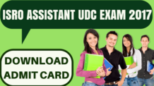 ISRO Assistant UDC Admit Card