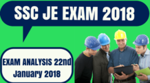 SSC JE Analysis 22nd January 2018