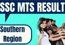SSC MTS Result Southern Region