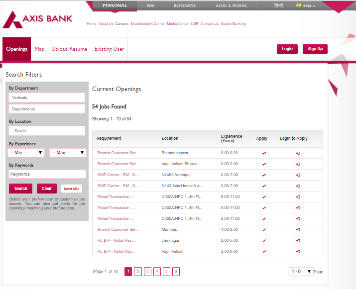 online application for axis bank job