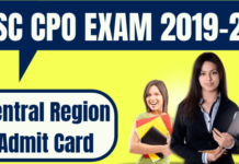 SSC CPO Admit Card Central Region
