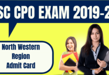 SSC CPO Admit Card North Western Region