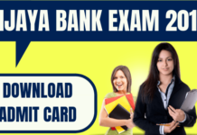 Vijaya Bank Admit Card