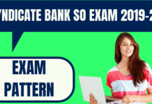 Syndicate Bank SO Exam Pattern