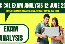 SSC CGL Exam Analysis 12 June 2019