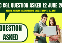 SSC CGL Question Asked 12 June 2019