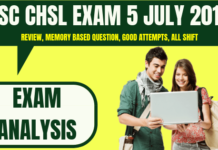 SSC CHSL Exam Analysis 5 July 2019