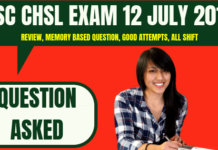 SSC CHSL Question Asked 12 July 2019