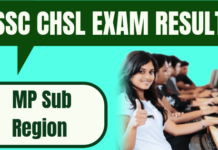 SSC CHSL Result MP Sub Region