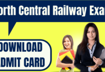 North Central Railway Admit Card