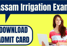 Assam Irrigation Admit Card