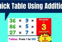 Quick Table Using Addition