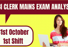 SBI Clerk Mains Exam Analysis 31 October 2020 - 1st Shift