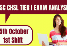 SSC CHSL Exam Analysis 2020 15th October Shift 1